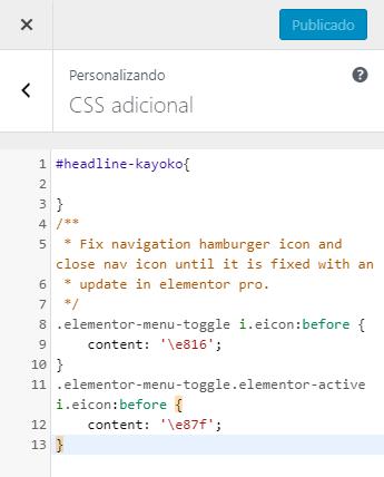 personalizando css adicional - Tirar os números do menu hambúrguer no Elementor