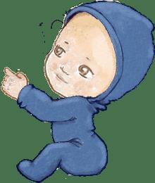 bebe sentado apontando - PV O Grande Curso do Bebê
